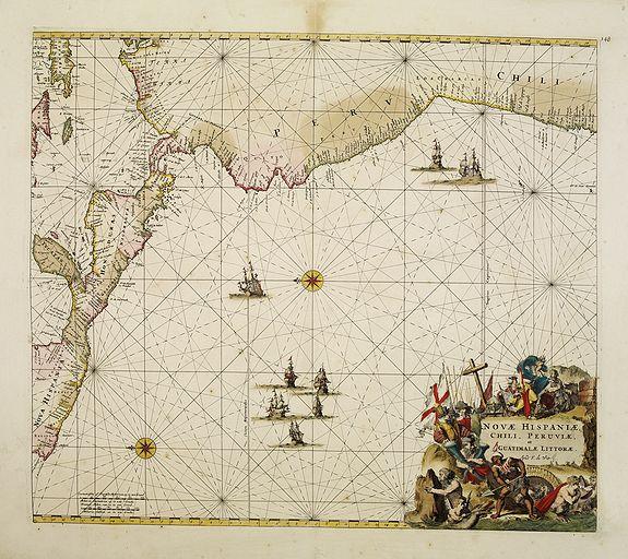 DE WIT,F -  Nova Hispaniae, Chili, Peruviae, et Guatimalae Littorae..