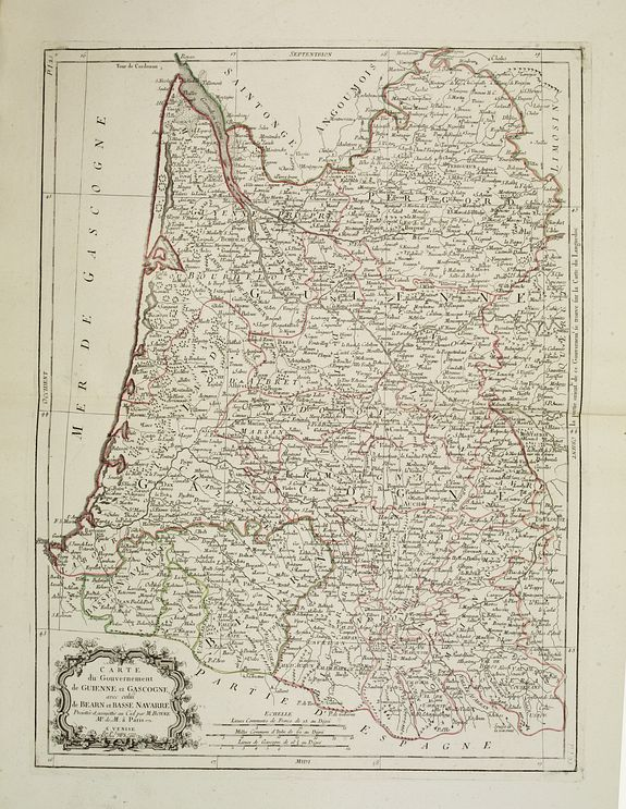 SANTINI,P. / REMONDINI,M. -  Carte des Gouvernements de Guienne et Gascogne, avec celui de Bearn et basse Navarre. . .