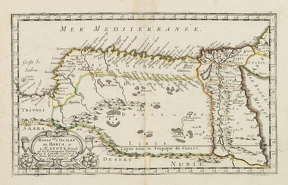 SANSON, N. -  Royaume et desert de Barca, et Aegypte divisee. . .