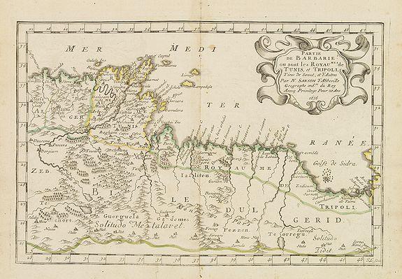 SANSON, N. -  Partie de la Barbarie ou sont les royaumes de Tunis et Tripoli. . .