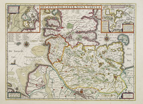 BLAEU, W.,  Ducatus Holsatiae nova tabula., antique map, old maps