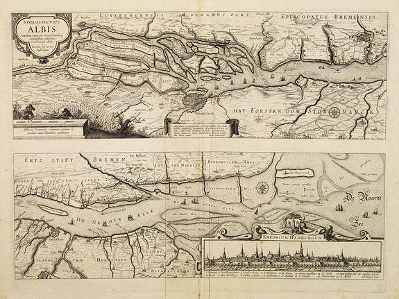 JANSSONIUS,J. -  Nobilis Fluvius Albis.. Emporium Hamburgum.