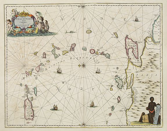 JANSSONIUS, J. -  Insula S.Iuan de Puertorico caribes vel Canibasun insulae.