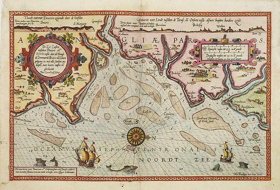 WAGHENAER, L. J. -  De zee cuften tufschen Dovere en Orfords nesse, daer de Teemse de Vermaerde Rivire van Lonen gelegens is. . .