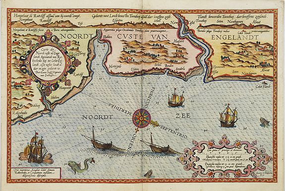 WAGHENAER, L. J. -  Caerte der Noordt cufte va Engelandt, beginnende van Robinhodes baij tot Coket Eijlandt. . . .