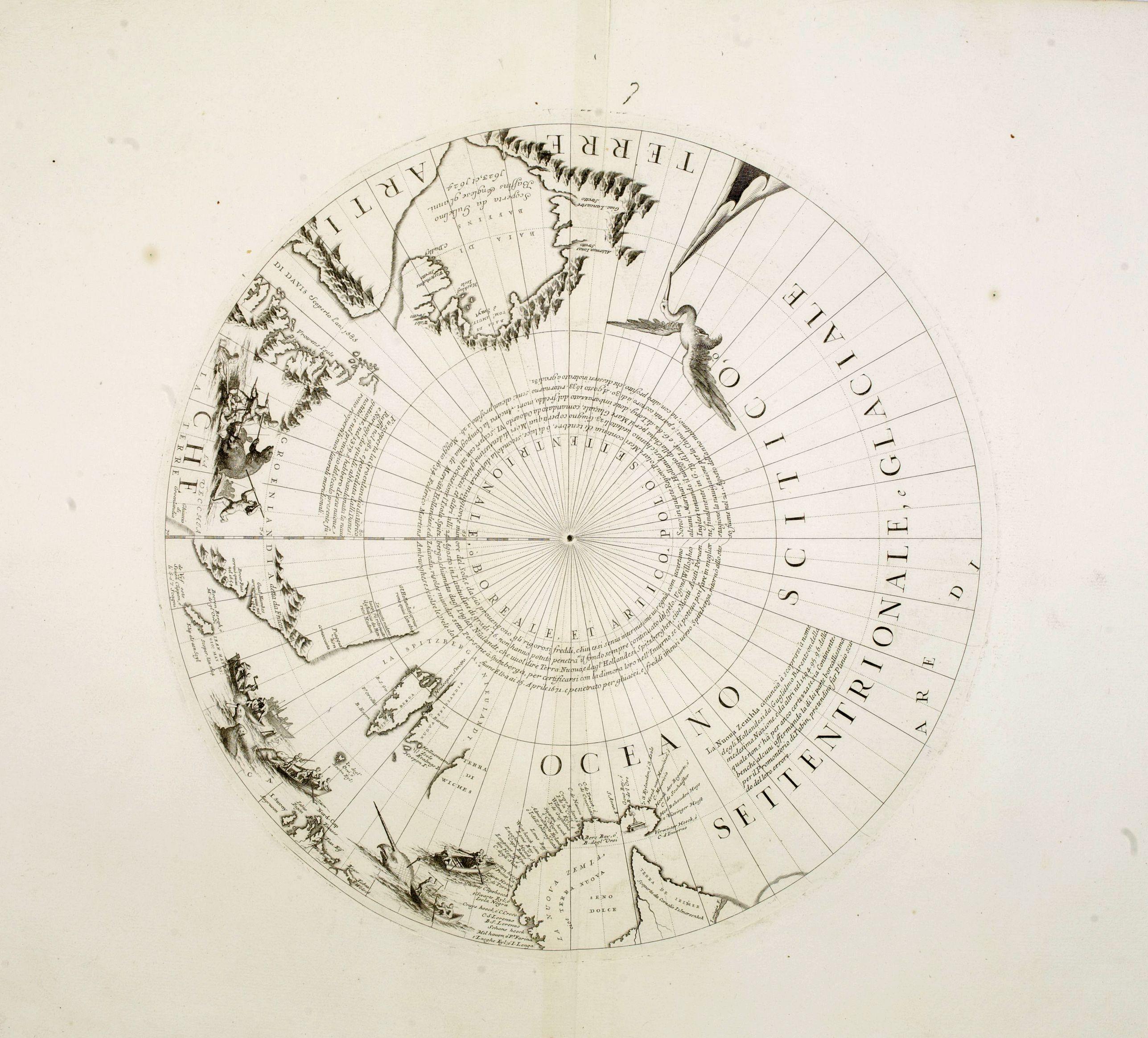 CORONELLI, V. M. -  Two polar calottes from a globe.