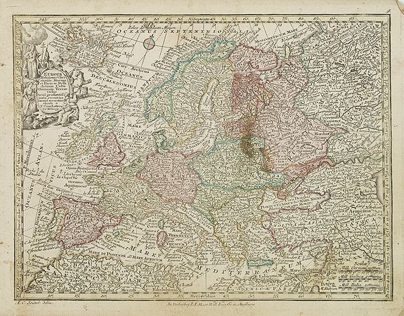 LOTTER, T.,  Europa religionis Christiania, morum et pacis. . ., antique map, old maps