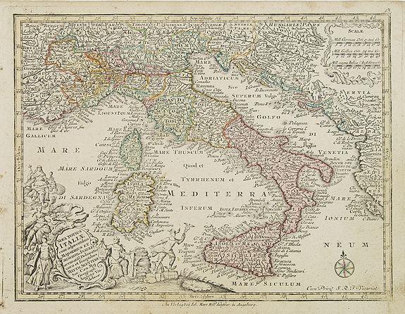 SEUTTER, M. -  Nova totius Italiae cum adjecentibus majoribus et minorib Insulis. . .