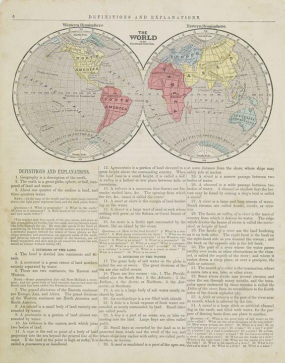 MORSE, S.E. -  The World Western & Eastern hemisphere.