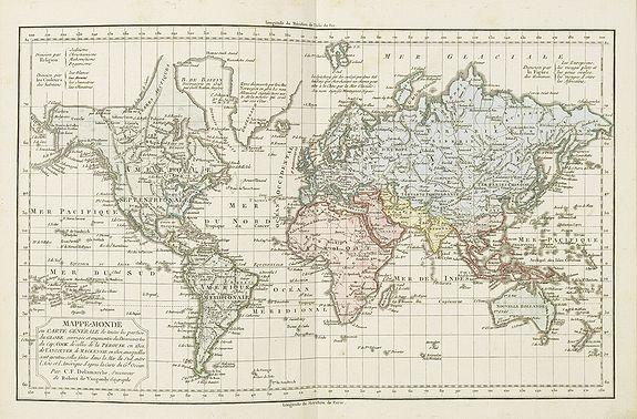 DELAMARCHE, C.F. -  Mappe-Monde ou Carte Générale de toutes les Parties connues. . .