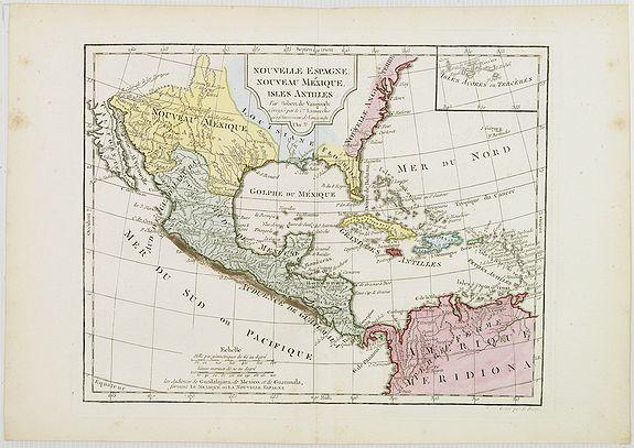 DELAMARCHE, C.F. -  Nouvelle Espagne, Nouveau Méxique, Isles Antilles, par Robert de Vaugondy corrigés par le Cen. Lamarche Géog. Successeur de Vaugondy. l''An 3e.