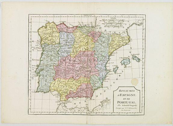VAUGONDY, R. de / DELAMARCHE -  Royaumes d'Espagne et du Portugal.