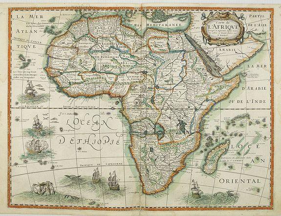 BERTIUS, P./ TAVERNIER, M. -  Carte de L'Afrique, corrigée et augmentée desus toutes les autres cy deuant faictes par P.Bertius.