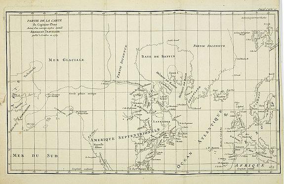 DE VAUGONDY, R. de -  Partie de la Carte du Capitaine Cluny Auteur d'un ouvrage anglois intitulé American Traveller publié à Londres en 1769..