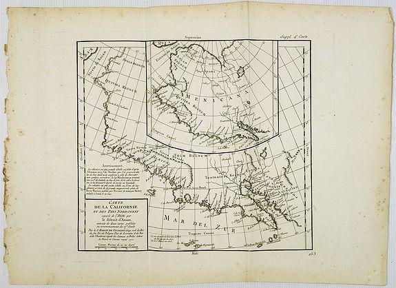 DIDEROT, D. -  Carte de la Californie et des Pays Nord-Ouest. . . 4de Carte.
