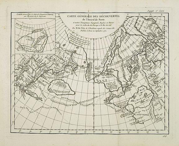 L' ISLE, J.N. de. / DIDEROT, D. - Carte Générale des Découvertes de l'Amiral de Fonte, et autres . . .