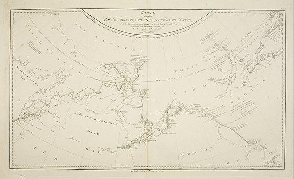 SCHRAEMBL, F.A. -  Karte von den N.W.Amerikanische und N.O.E. Asia. . .
