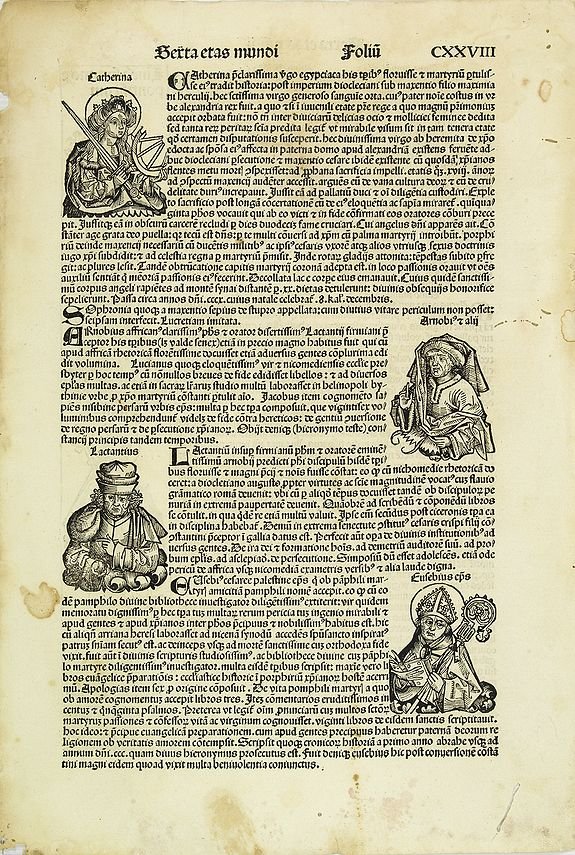 SCHEDEL, H. -   [Text page with Saints and Kings, folio CXXVIII ].