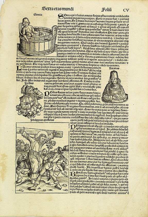 SCHEDEL, H. -  [Text page with two Crucufixion scenes and an array of Kings and known Roman personalities, folio CV ].