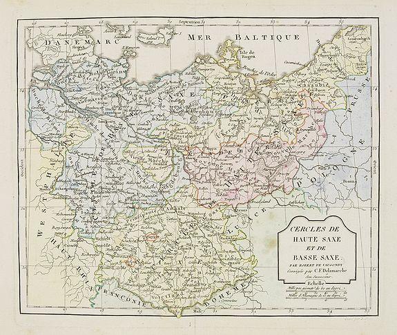 VAUGONDY, R. de / DELAMARCHE. -  Cercle de Haute Saxe et de Basse Saxe. . .