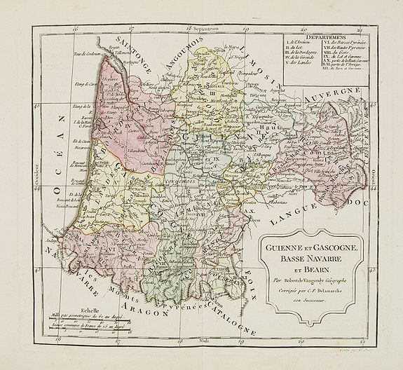 VAUGONDY, R. de / DELAMARCHE. -  Guienne et Gascogne, Basse Navarre et Bearn.