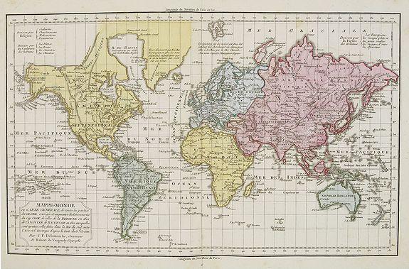 VAUGONDY, R. de / DELAMARCHE. - Mappe-Monde ou carte g�n�rale de toutes les parties du globe, corrig�e et augment�e des d�couvertes du Cap, Cook, de celles de la P�rouse en 1881. de Vancouver, de Mackensie en 1882, auxquelles sont ajout�es celles faites dans la Mer du Sud. . .
