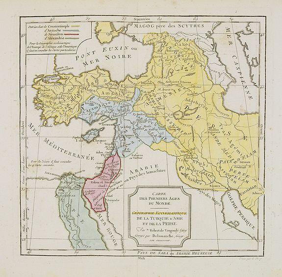 VAUGONDY, R. de / DELAMARCHE. -  Carte des Premiers Ages du Monde. Géographie Ecclésiastique de la Turquie, d'Asie et de la Perse.