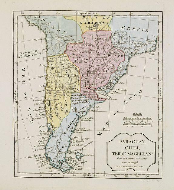 VAUGONDY, R. de / DELAMARCHE. -  Paraguay, Chili, Terre Magellan ?