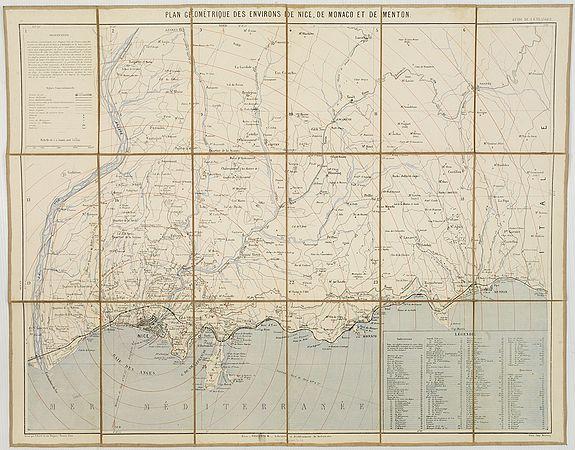 ANONYME. -  Plan géométrique des environs de Nice, de Monaco, et de Menton.
