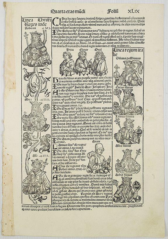 SCHEDEL, H. -  [Text page with Prophets and Kings, Quarta Etas Mudi. Foliu. XL IX ].