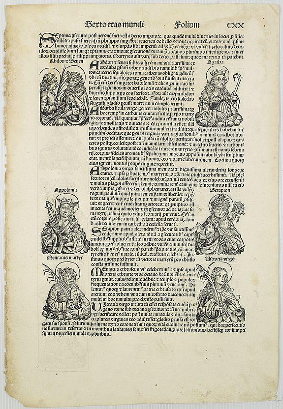 SCHEDEL, H. -  [Text page with Saints. Terta Etas Mundi. Folium. CXX ].