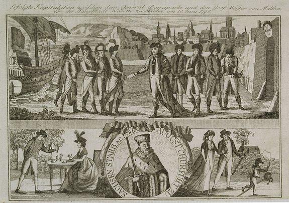 GOTTFRIED BAUMANN & CO. -  Erfolgte Kapitulation zwischen dem General Bonaparte und den Gross Leister von Malta. Vor der Hauptstadt Walette zu Maltha, am 10 Juni 1798.