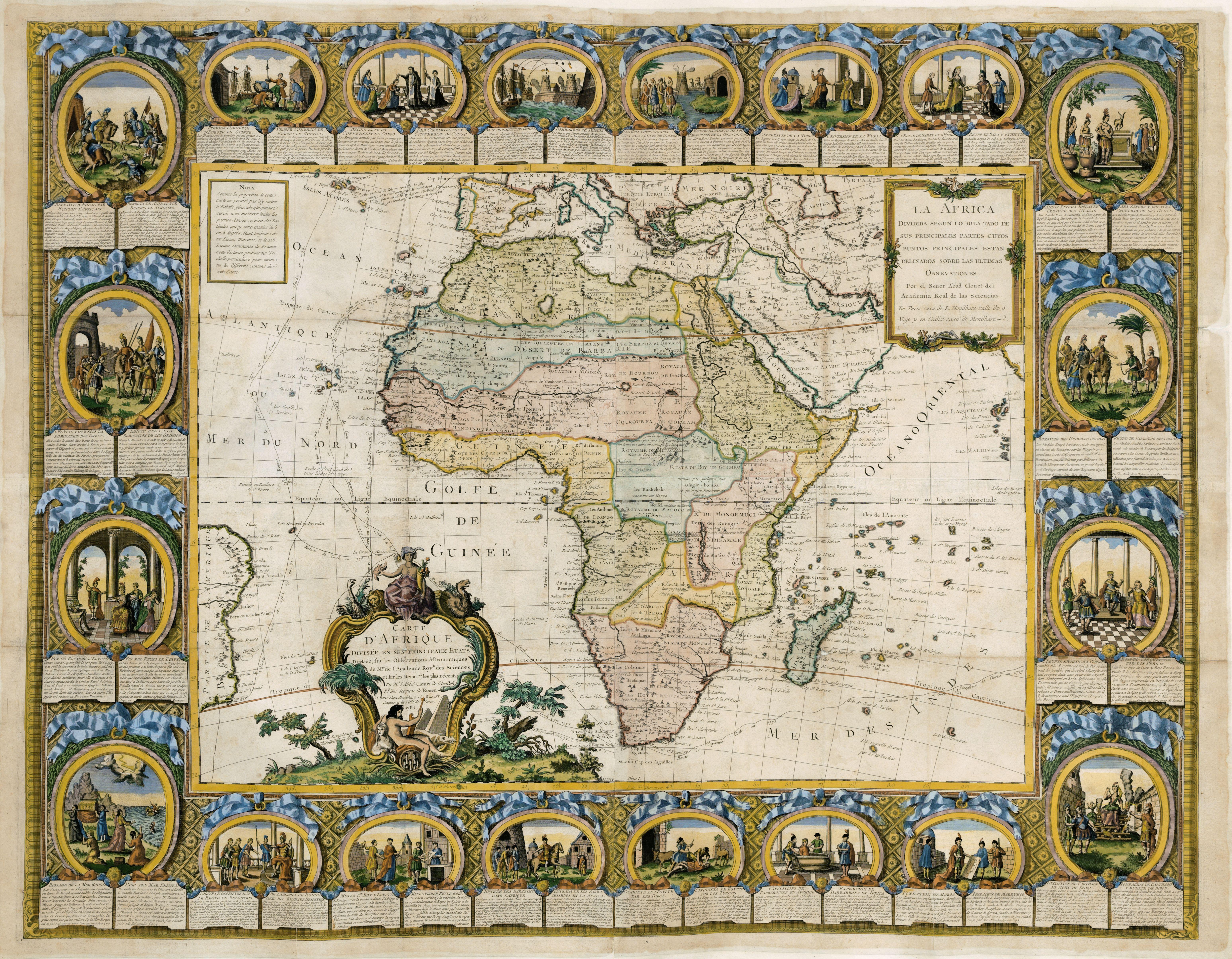 CLOUET, J. B. L. abbé / MONDHARE, L. -  Carte d'Afrique divisée en ses principaux Etats…
