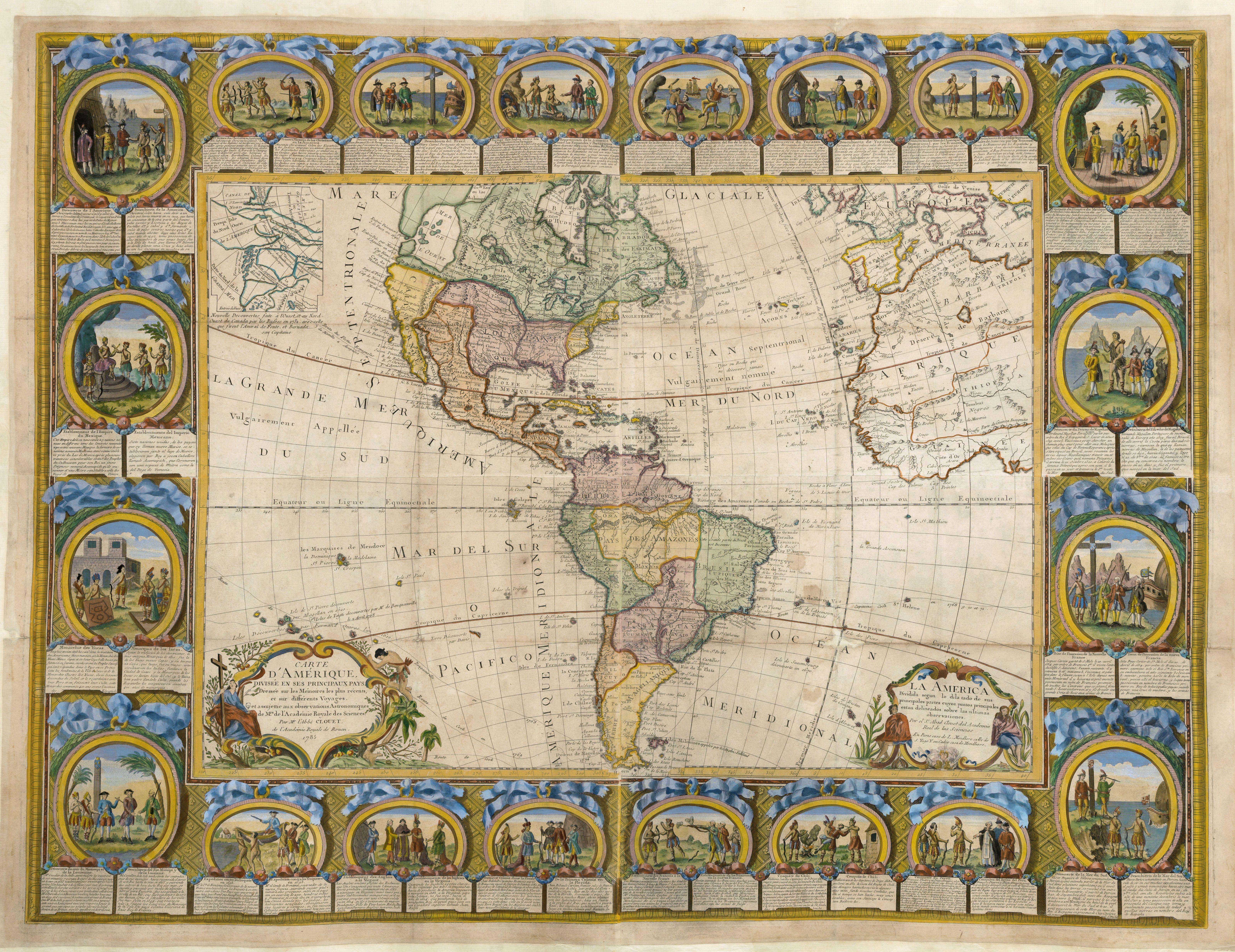 CLOUET, J. B. L. abbé / MONDHARE, L. -  Carte D'Amerique Divisée en ses Principaux Pays. . .