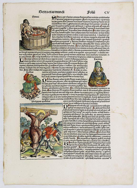 SCHEDEL, H. -  [Text page with Kings and Saints. Sexta Etas Mundi. ] Foliu CV.