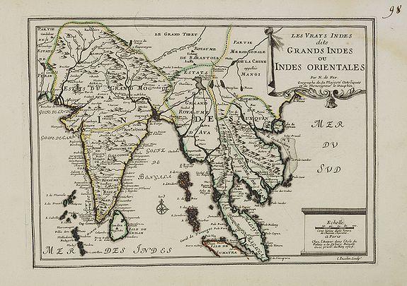 FER, N. de -  Les Vrays Indes dits Grands Indes ou Indes Orientales Par N. de Fer. Geographe de Sa Majeste Catoliques et de Monseigneur le Dauphin.