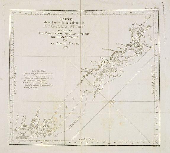 COOK, Captain James. -  Carte d'une Partie de la Côte, de la Nle Galles Meridle depuis le Cap Tribulation jusqu'au Detroit de l'Endeavour par le Lieut. J. Cook 1770. Tome IV. Pl. 3.