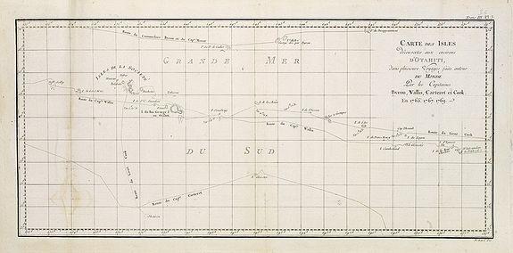 COOK, Captain James. -  Cartes des Isles découvertes aux environs d'Otahiti . . .par les Capitaines Byron, Wallis, Carteret et Cook en 1765, 1767, 1769.    Tome III Pl. 3.