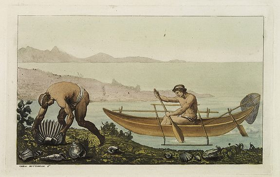 FERRARIO, G.,  [No title]. [Two locals of the island of Ubi ]., antique map, old maps