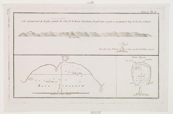 COOK, Captain James. -  Baye Swallow . . . / Havre Byron / Côté septentrional de la plus grande des Isles de la Reine Charlotte. . . . [Tome I Pl. 11.]