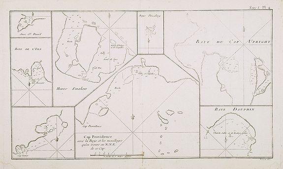 COOK, Captain James. -  Cap Providence avec la Baye et les mouillages . . . / Anse St. David / Baye de l'Isle / Havre Swallow / Baye Puzzling / Baye du Cap Upright / Baye Dauphina. Tome I Pl. 4.