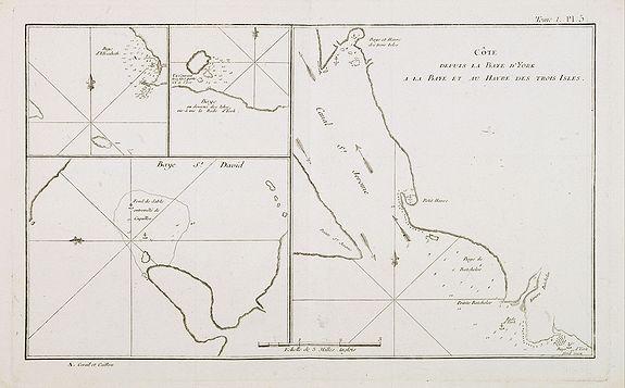 COOK, Captain James. -  Côte depuis la Baye d'York a la Baye et au Havre des Trois Isles / Baye St. David / Baye d'Elizabeth et la Baye en dessous des Isles. Tome I Pl. 5.
