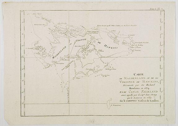 COOK, Captain James. -  Carte de Maidenland ou de la Virginie de Hawkins, Découverte par Sir Richard Hawkins en 1574, et du Canal Falkland . . . [Tome I Pl.7.]
