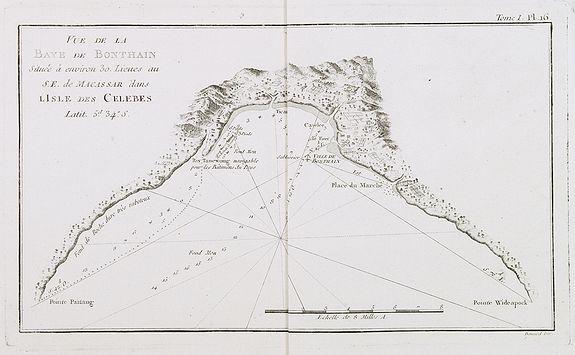 COOK, Captain James. -  Vue de la Baye de Bonthain . . .dans l'Isle des Celebes. Tome I Pl. 16.