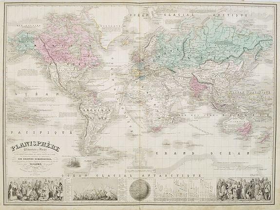 VUILLEMIN, A. - Planisphère elémentaire et Illustré. . .
