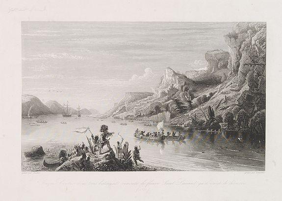 CHAVANE -  Jacques Cartier avec trois batiments remonte le fleuve Saint Laurent qu'il vient de découvrir. (1535)