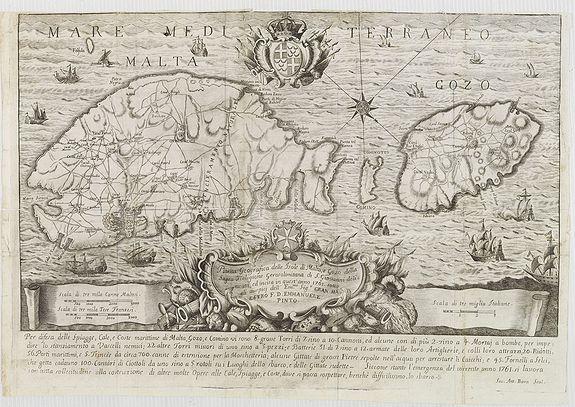 BOVA, A.,  Pianta Geografia delle Isole di Malta, e Gozo della Sagra Religione Gerosolimitana di S. Giovanni delineata, ed incisa in quest anno 1761., antique map, old maps