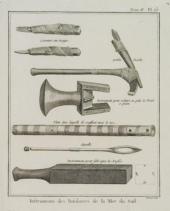 COOK, Captain James. -  Instruments des insulaires de la Mer du Sud.  [Tome II Pl. 15.]