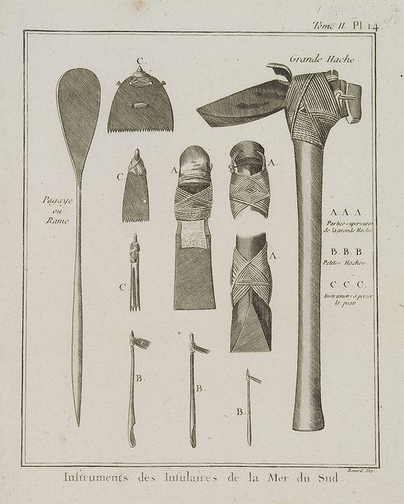 COOK, Captain James. -  Instruments des Insulaires de la Mer du Sud.  [Tome II Pl. 14.]