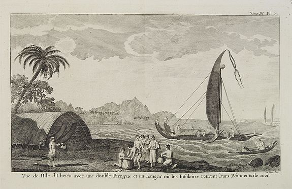 COOK, Captain James. -  Vue de l'Isle d'Ulietéa avec une double Pirogue et un hangar où les Insulaires retirent leurs bâtiments de mer.  [Tome III Pl. 5.]